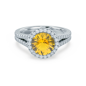 AMELIA - Lab Grown Yellow Sapphire & Diamond 18k White Gold Halo Ring Engagement Ring Lily Arkwright