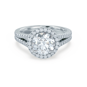 Lily Arkwright Engagement Ring AMELIA - Charles & Colvard Moissanite & Diamond 18k White Gold Halo Ring