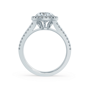 AMELIA - Charles & Colvard Moissanite & Diamond 18k White Gold Halo Ring