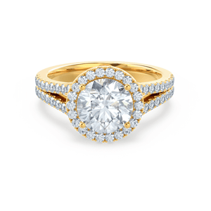 AMELIA - Round Moissanite & Diamond 18k Yellow Gold Halo Ring Engagement Ring Lily Arkwright