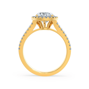 AMELIA - Charles & Colvard Moissanite & Diamond 18k Yellow Gold Halo Ring