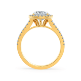 Lily Arkwright Engagement Ring AMELIA - Charles & Colvard Moissanite & Diamond 18k Yellow Gold Halo Ring