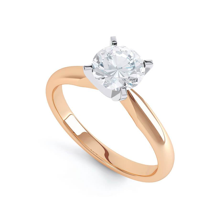 ANNELIE - Round Moissanite 18k Rose Gold Twist Solitaire Ring Engagement Ring Lily Arkwright