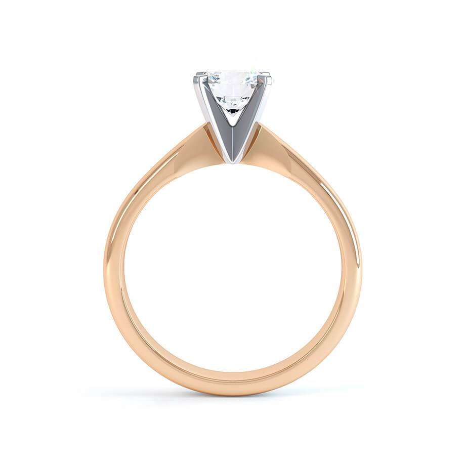 ANNELIE - Charles & Colvard Moissanite Solitaire 18k Two Tone Rose Gold Ring