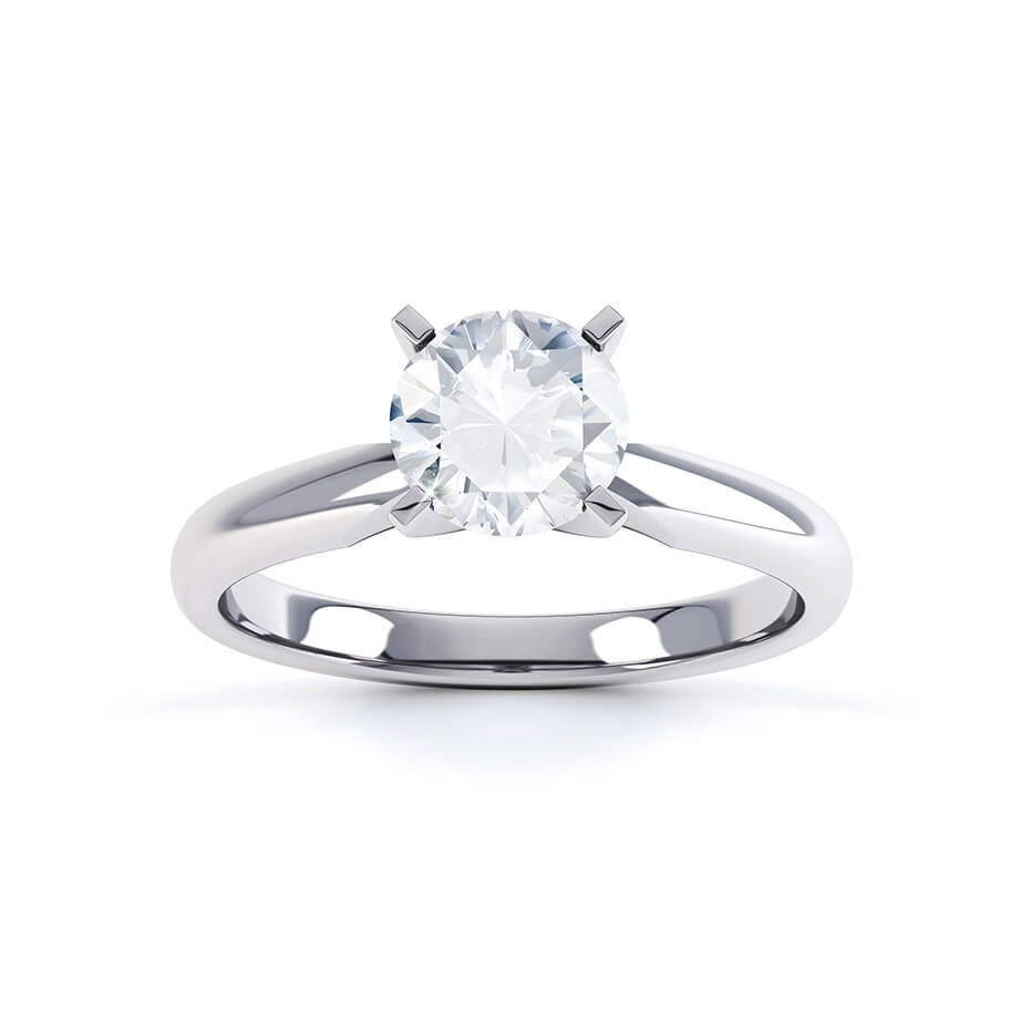 ANNELIE - Round Moissanite 950 Platinum Twist Solitaire Ring Engagement Ring Lily Arkwright