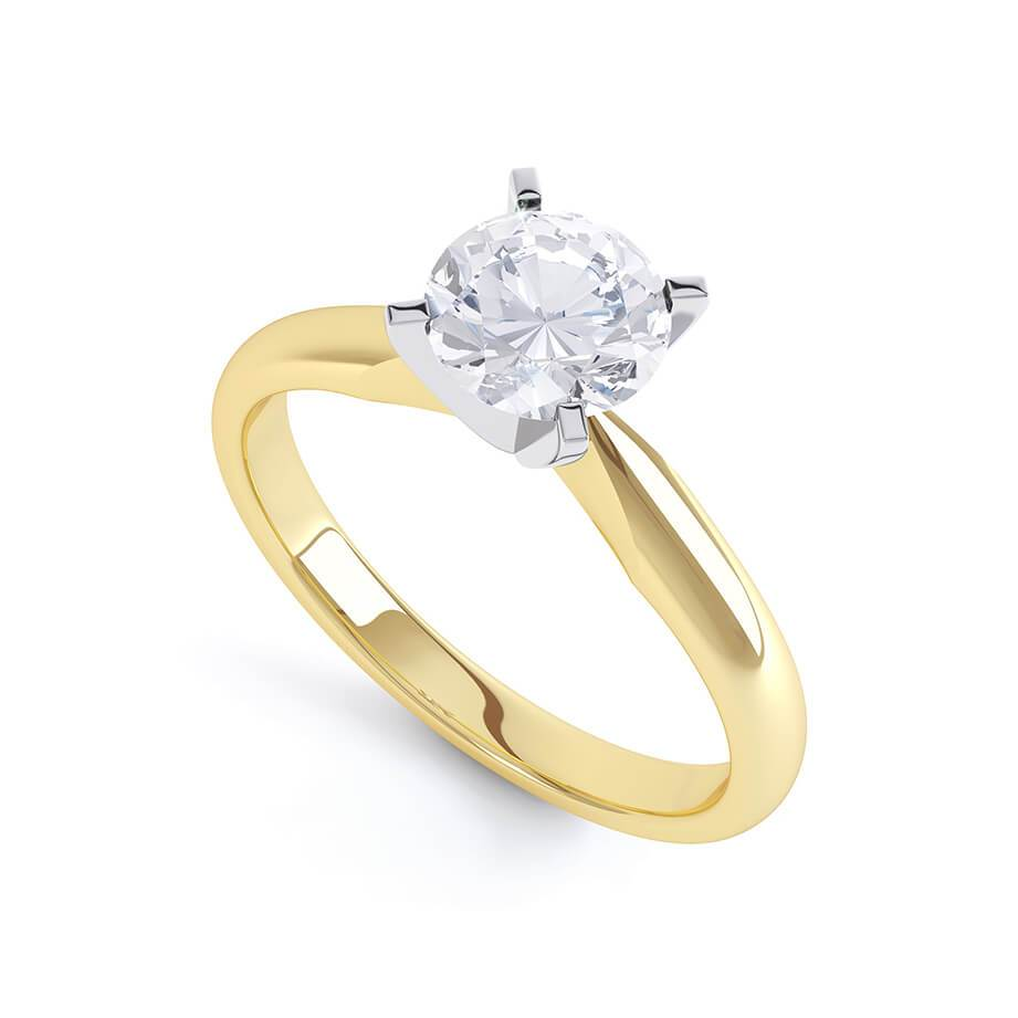 Annelie Premium Certified Lab Diamond 4 Claw Solitaire 18k Two Tone Yellow Gold