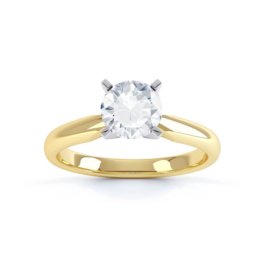 Annelie Charles & Colvard Moissanite Solitaire 18k Two Tone Yellow Gold Ring