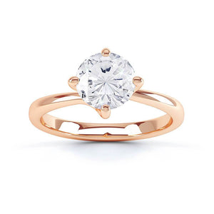 ANNORA - Round Moissanite 18k Rose Gold Twist Solitaire Ring Engagement Ring Lily Arkwright