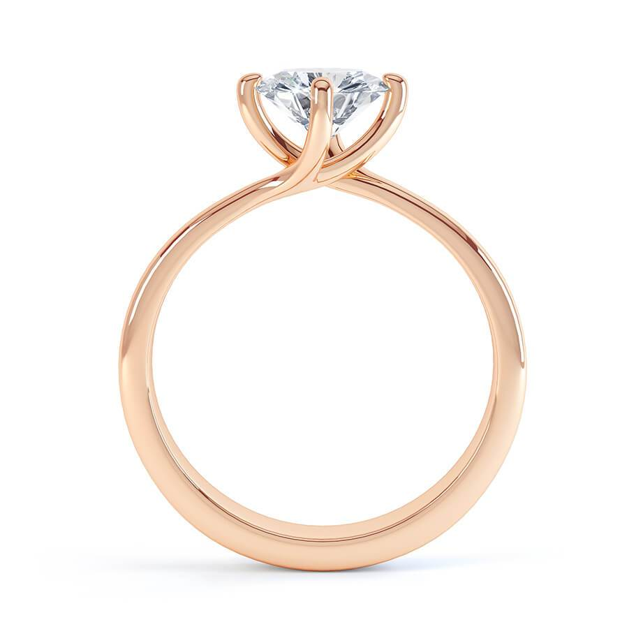 Annora Twist Moissanite 18k Rose Gold Round Ring