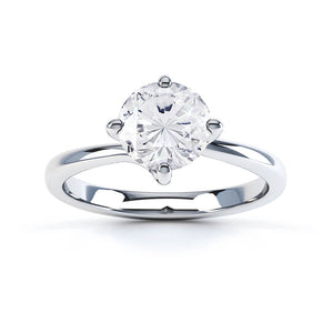 ANNORA - Round Moissanite 18k White Gold Twist Solitaire Ring Engagement Ring Lily Arkwright