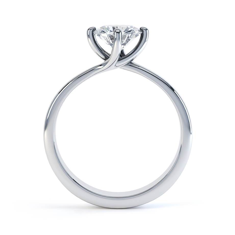 Annora Twist Charles & Colvard Moissanite 18k White Gold Round Ring