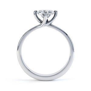 Annora Twist Moissanite 18k White Gold Round Ring
