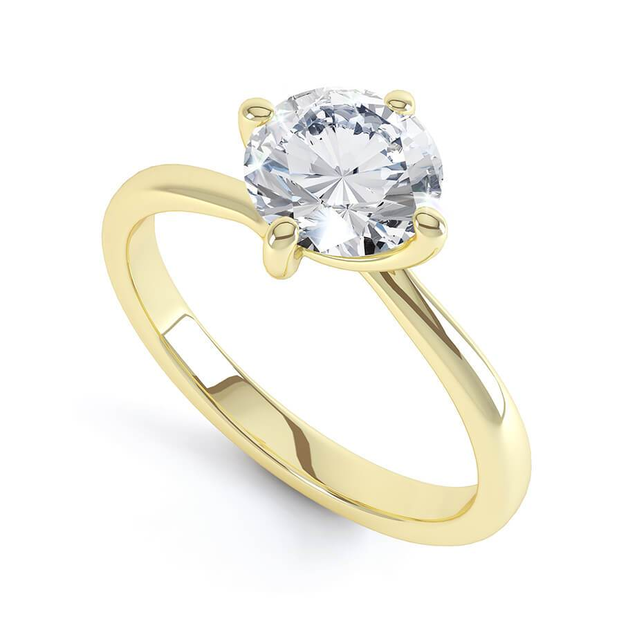 ANNORA - Moissanite Twist 18k Yellow Gold Solitaire