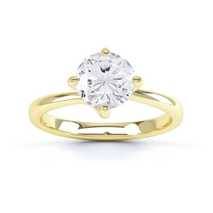 ANNORA - Round Moissanite 18k Yellow Gold Twist Solitaire Ring Engagement Ring Lily Arkwright