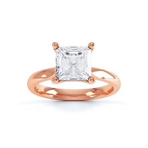 Arabella Charles & Colvard Moissanite 18k Rose Gold Princess Solitaire