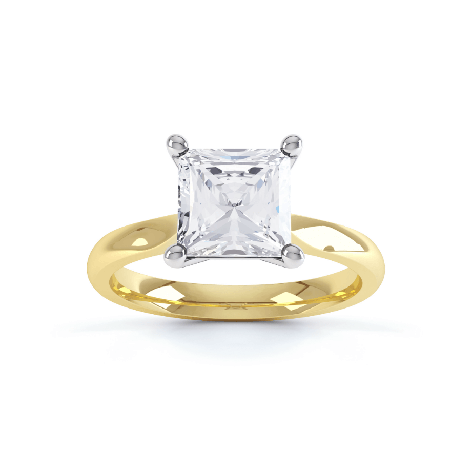 ARABELLA - Charles & Colvard Moissanite Two Tone Gold Princess Solitaire
