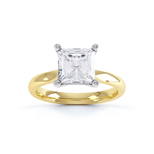 ARABELLA - Princess Moissanite 18k Two Tone Yellow Gold Solitaire Ring Engagement Ring Lily Arkwright