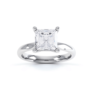 ARABELLA - Princess Moissanite 18k White Gold Solitaire Ring Engagement Ring Lily Arkwright