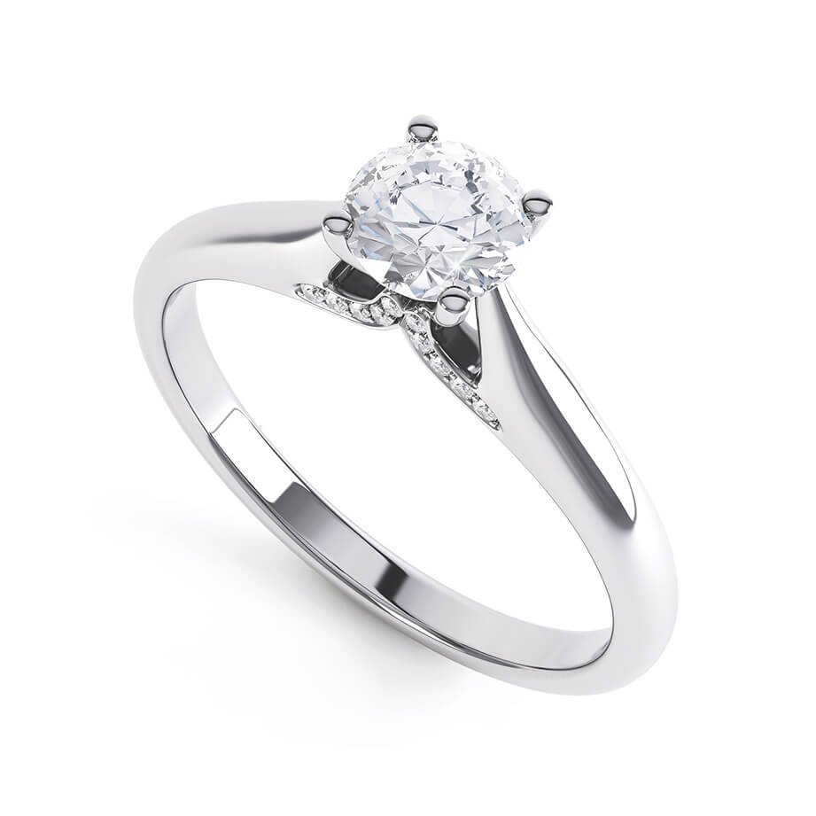 Lily Arkwright Engagement Ring ARIA - Accented Diamond & Charles & Colvard Forever One Platinum Solitaire
