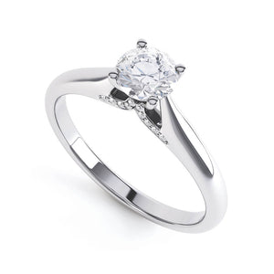 ARIA - Round Moissanite & Accented Diamond 950 Platinum Solitaire Ring Engagement Ring Lily Arkwright