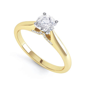 Lily Arkwright Engagement Ring ARIA - Accented Diamond & Charles & Colvard Forever One 18k Yellow Gold Solitaire