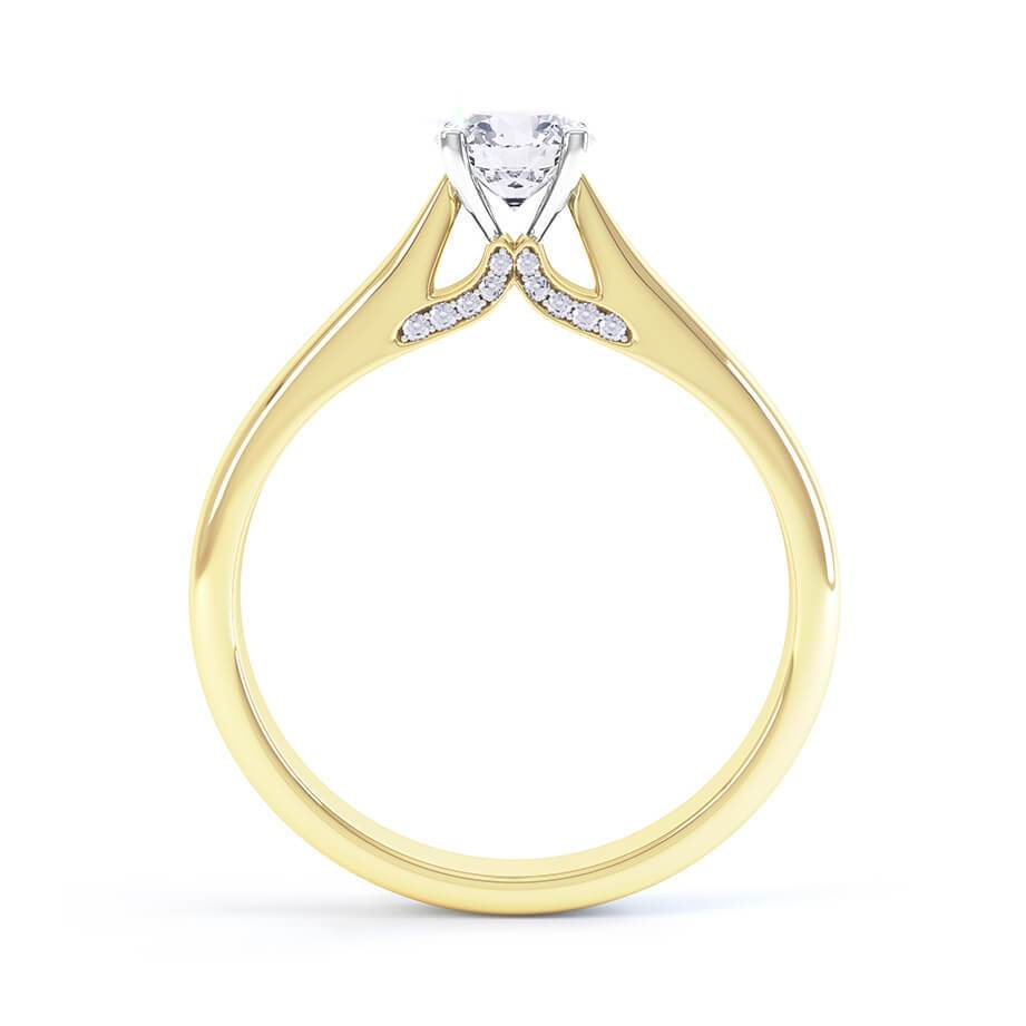 ARIA - Accented Diamond & Charles & Colvard Forever One 18k Yellow Gold Solitaire