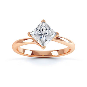 Lily Arkwright Engagement Ring ASTER - Twist Princess Cut Charles & Colvard Forever One 18k Rose Gold Solitaire