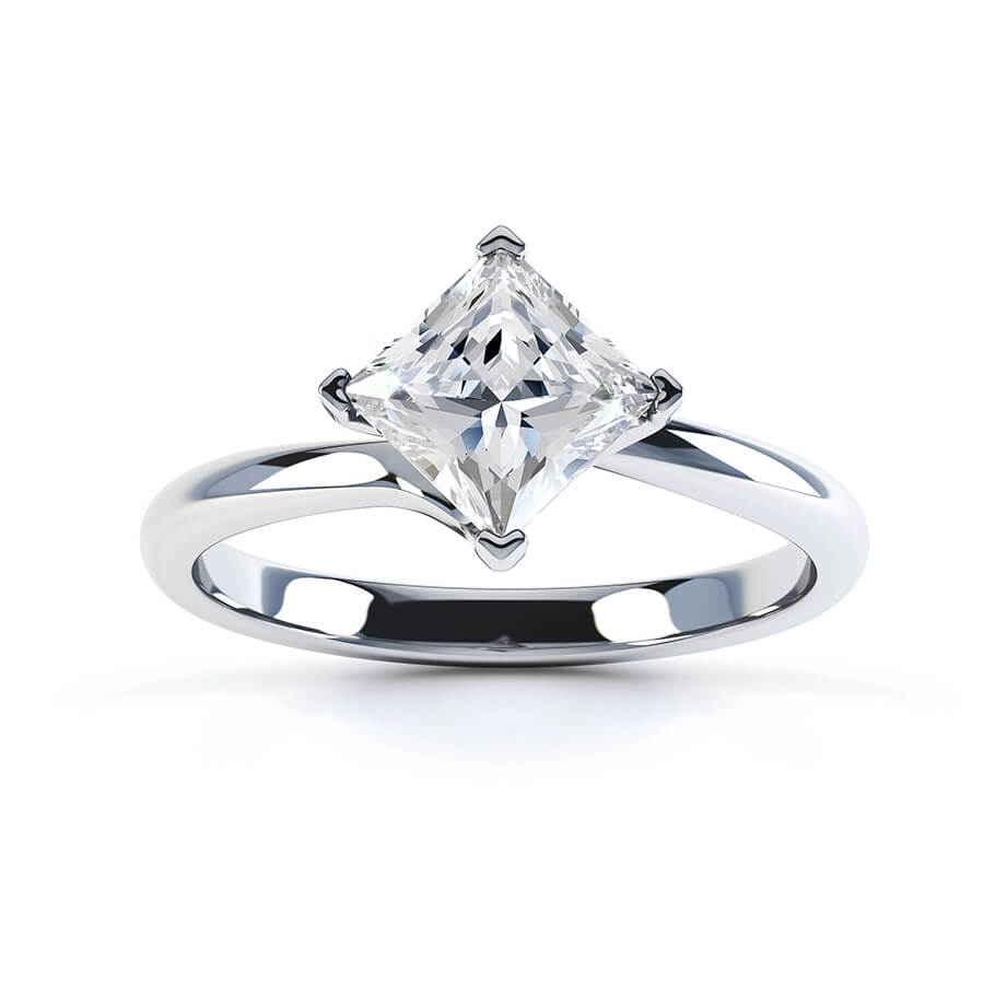 Aster Twist Princess Cut Charles & Colvard Forever One 18k White Gold Solitaire