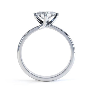 Lily Arkwright Engagement Ring ASTER - Twist Princess Cut Charles & Colvard Forever One 18k White Gold Solitaire