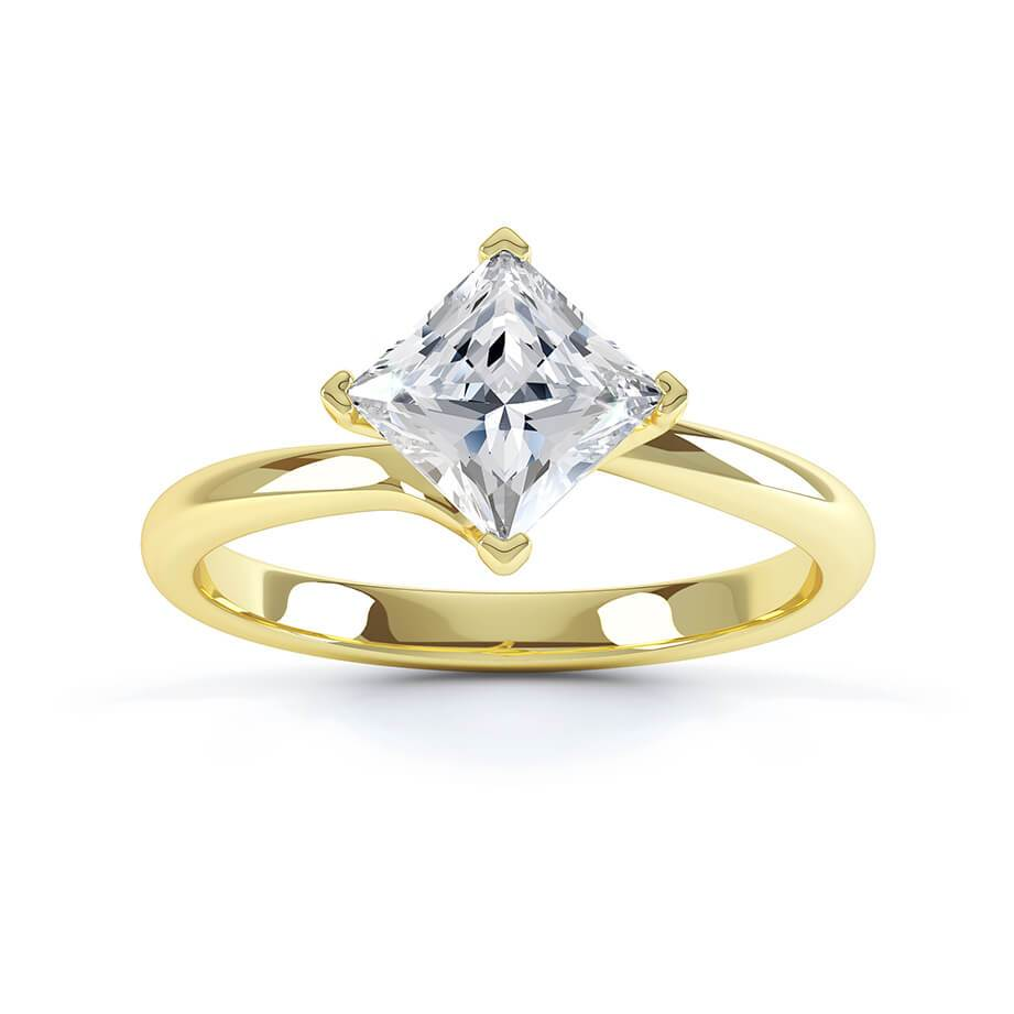Lily Arkwright Engagement Ring ASTER - Twist Princess Cut Charles & Colvard Forever One 18k Yellow Gold Solitaire