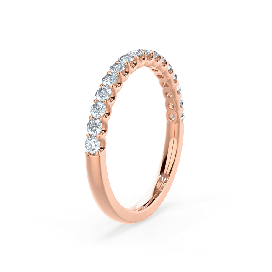 AURELIA - Round Moissanite 18k Rose Gold Pavé Eternity Band Eternity Lily Arkwright