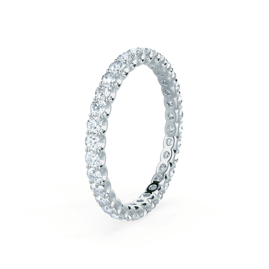 AURELIA - Round Moissanite 18k White Gold Pavé Eternity Band Eternity Lily Arkwright