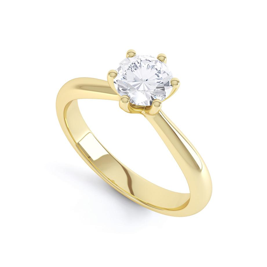 AVERY - Round Moissanite 18k Yellow Gold Solitaire Ring Engagement Ring Lily Arkwright