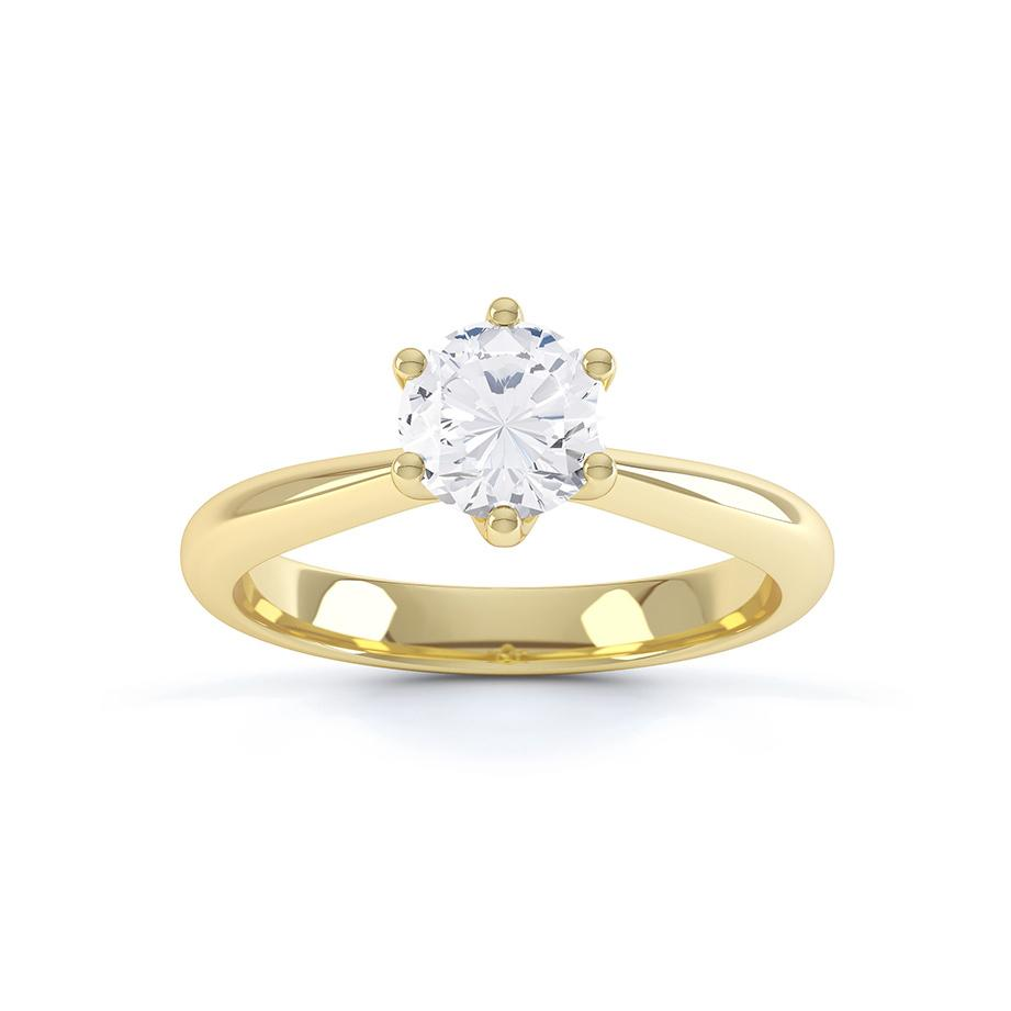 AVERY - Charles & Colvard Moissanite 18k Yellow Gold Solitaire Ring