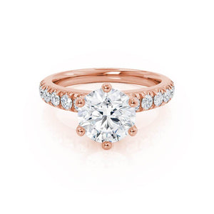 BELLE - Round Moissanite 18k Rose Gold Shoulder Set Ring Engagement Ring Lily Arkwright