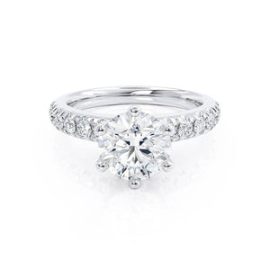 BELLE - Round Moissanite Platinum Shoulder Set Ring Engagement Ring Lily Arkwright