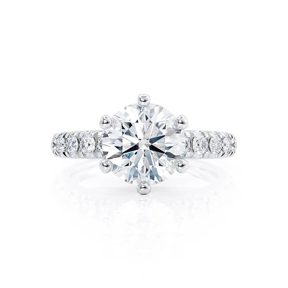 Lily Arkwright Engagement Ring BELLE - Charles & Colvard Moissanite 18k White Gold Shoulder Set Ring