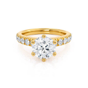 BELLE - Round Moissanite 18k Yellow Gold Shoulder Set Ring Engagement Ring Lily Arkwright