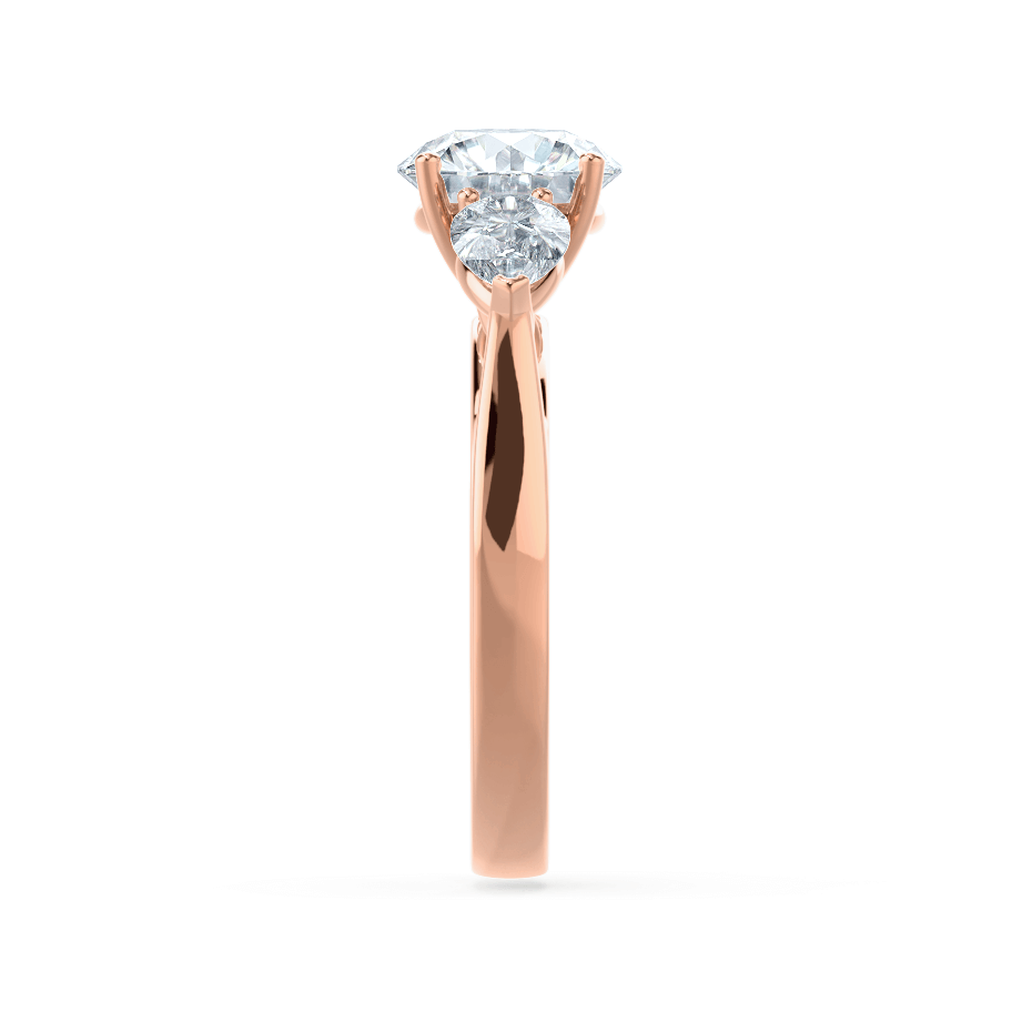 BLOSSOM - Round Moissanite & Pear Cut Diamond 18k Rose Gold Trilogy Ring Engagement Ring Lily Arkwright