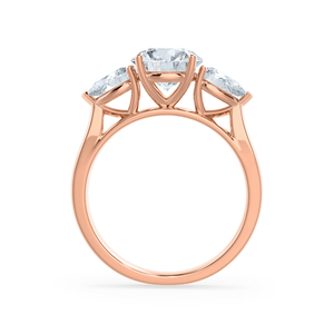 Blossom Charles & Colvard Brilliant Round & Pear Diamond 18k Rose Gold Trilogy Ring