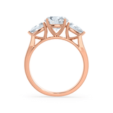 Lily Arkwright Engagement Ring BLOSSOM - Round & Pear Cut Diamond 18k Rose Gold Trilogy Ring
