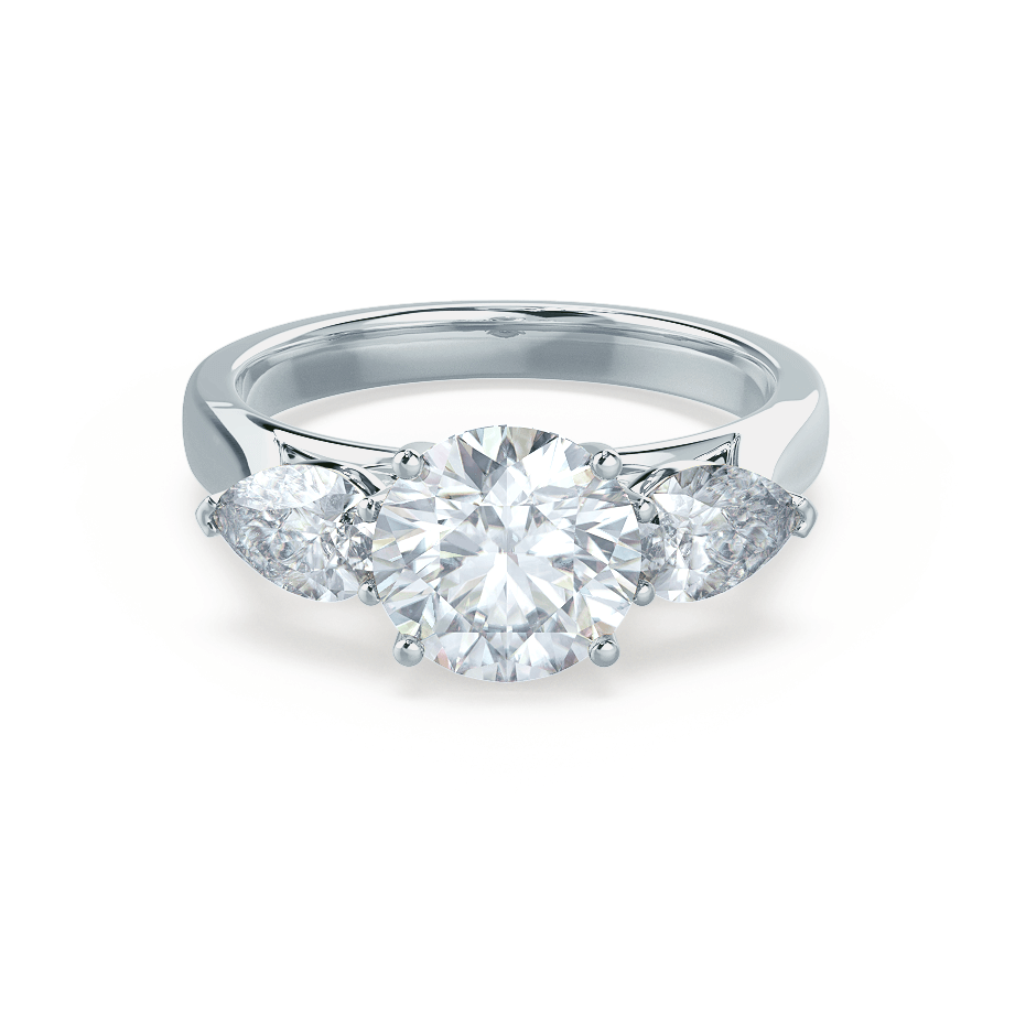 BLOSSOM - Round & Pear Cut Diamond 18k White Gold Trilogy Ring