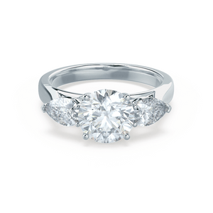 BLOSSOM - Charles & Colvard Moissanite Brilliant Round & Pear Cut Diamond 18k White Gold Trilogy Ring
