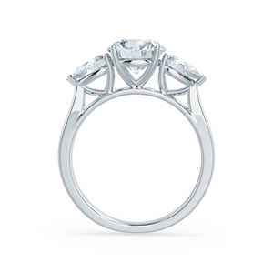 Lily Arkwright Engagement Ring BLOSSOM - Round & Pear Cut Diamond 18k White Gold Trilogy Ring