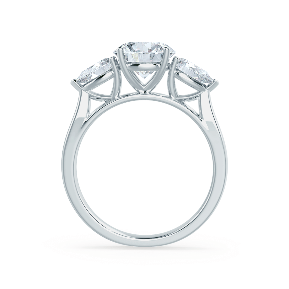 BLOSSOM - Round & Pear Cut Diamond Platinum Trilogy Ring