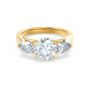 Lily Arkwright Engagement Ring BLOSSOM - Round & Pear Cut Diamond 18k Yellow Gold Trilogy Ring