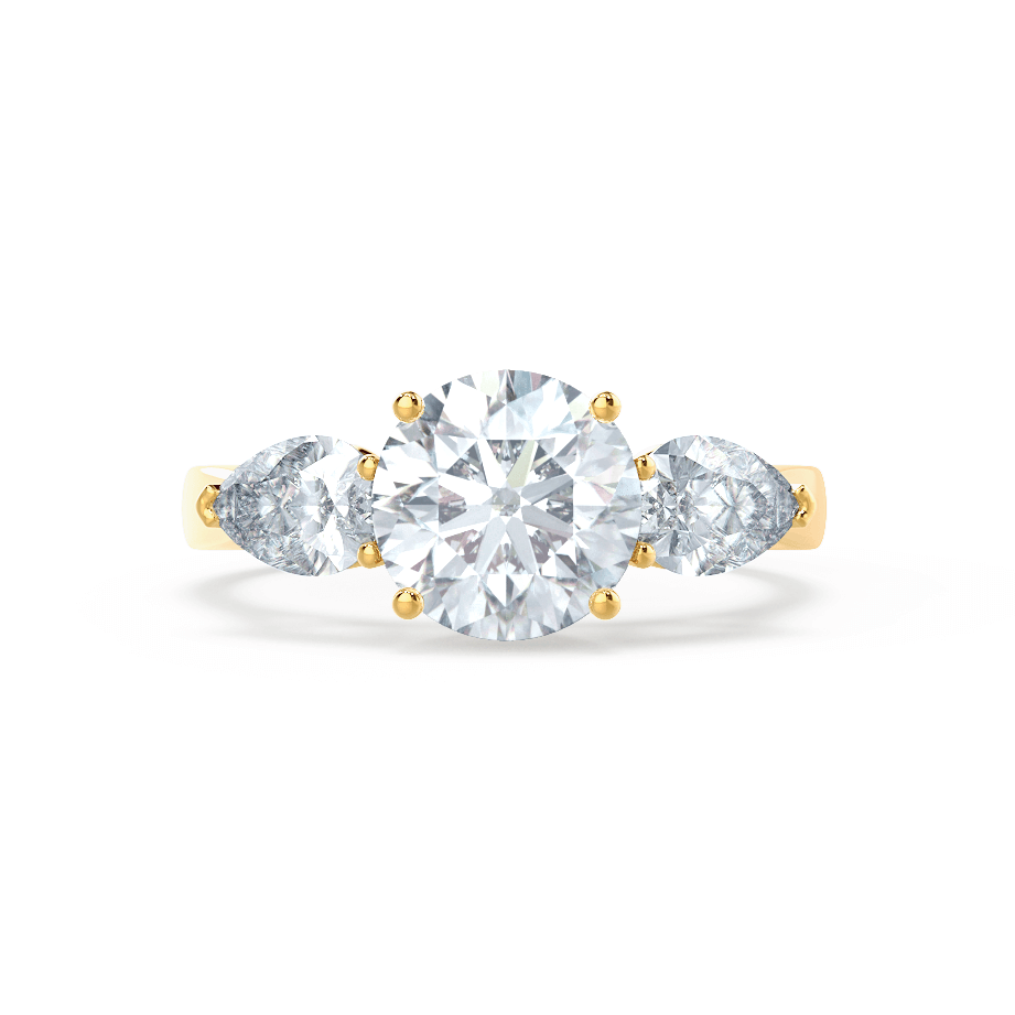 Blossom Charles & Colvard Brilliant Round & Pear Cut Diamond 18k Yellow Gold Trilogy Ring