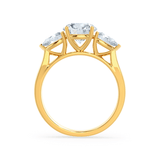 Blossom Moissanite Brilliant Round & Pear Cut Diamond 18k Yellow Gold Trilogy Ring