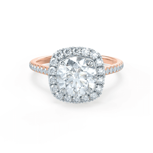 BLUSH - Round Moissanite & Diamond 18k Two Tone Rose Gold Petite Halo Ring Engagement Ring Lily Arkwright