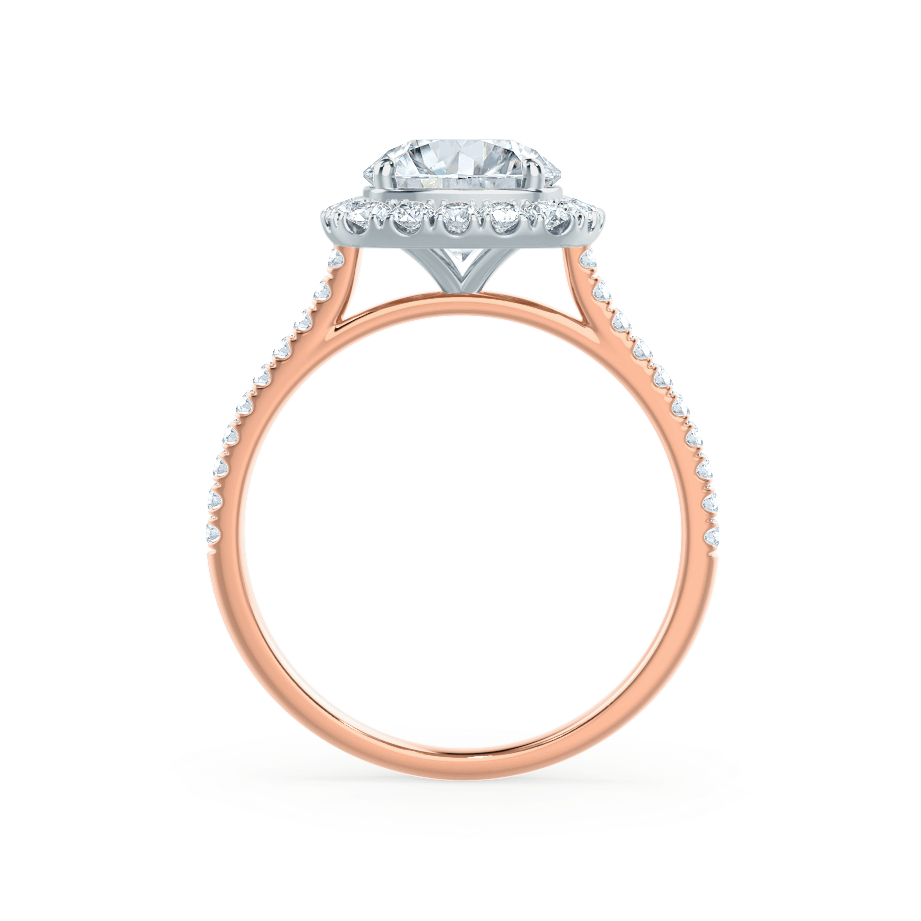 Lily Arkwright Engagement Ring BLUSH - Petite Halo Charles & Colvard Moissanite & Diamond Two Tone 18k Rose Gold & Platinum Ring